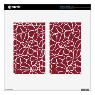 Crimson Whimsical Ikat Floral Petal Doodle Pattern Decal For Kindle Fire