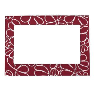 Crimson Whimsical Ikat Floral Petal Doodle Pattern Magnetic Picture Frame