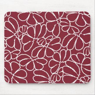 Crimson Whimsical Ikat Floral Petal Doodle Pattern Mouse Pad