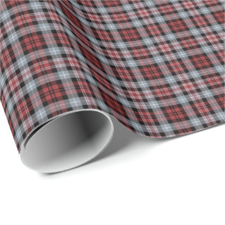 Crimson, White and Black Sporty Plaid Gift Wrap