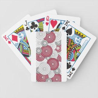 Crimson, White & Gray Circles 1 Playing Cards