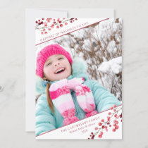 Crimson Winter Foilage Berries Photo Holiday Card