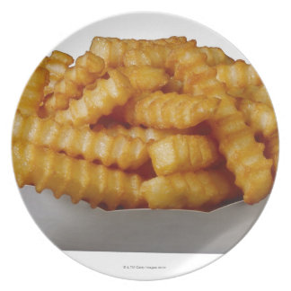 Crinkle-cut french fries plates