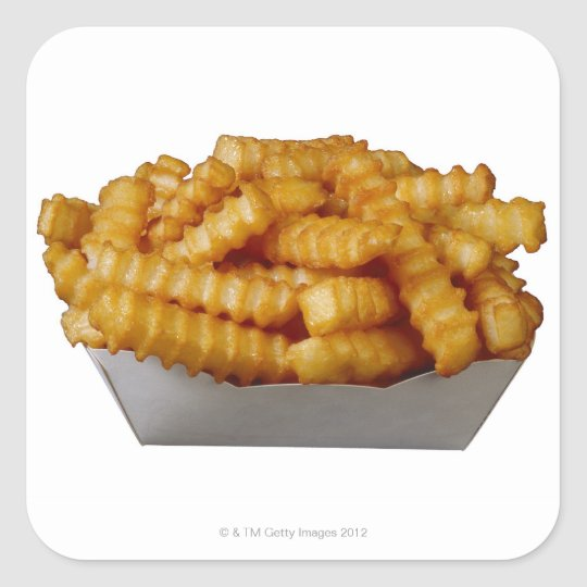 Crinkle-cut french fries square sticker