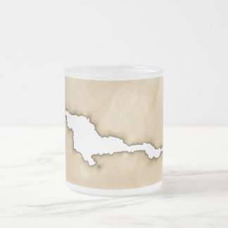 Crinkle Paper w/Burns Background Frosted Glass Coffee Mug