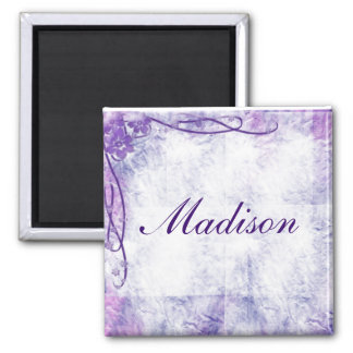 Crinkled Paper & Swirls In Lavender 2 Inch Square Magnet