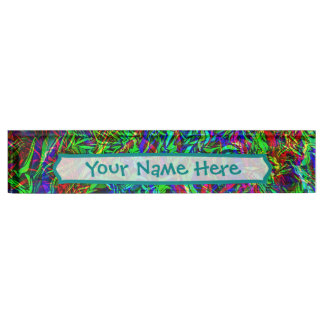 Crinkled Rainbow Abstract Desk Name Plate