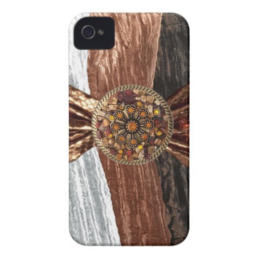 Crinkled Velour Snake Skin & Jeweled IPhone4 Case
