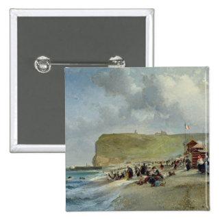 Crinolinas en la playa, Fecamp, 1871 Pin Cuadrada 5 Cm