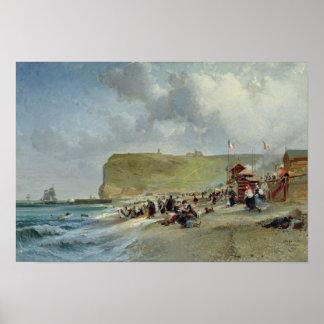 Crinolinas en la playa, Fecamp, 1871 Póster