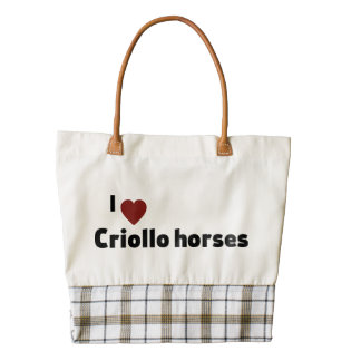 Criollo horses zazzle HEART tote bag