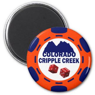 CRIPPLE COLORADO POKER CHIP REFRIGERATOR MAGNET