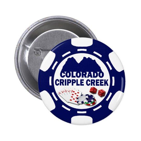 CRIPPLE COLORADO POKER CHIP PINBACK BUTTON