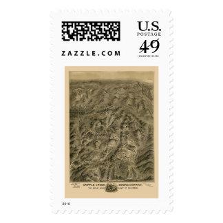 Cripple Creek, CO Panoramic Map - 1895 Stamp