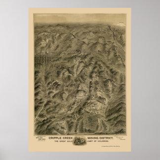 Cripple Creek, CO Panoramic Map - 1895 Poster