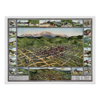 Cripple Creek, CO Panoramic Map - 1896 Poster