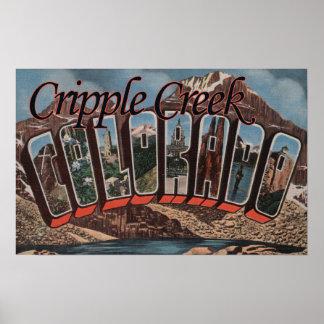 Cripple Creek, Colorado - Large Letter Scenes Poster