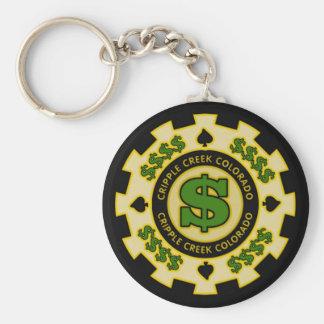 Cripple Creek Colorado Poker Chip Keychain