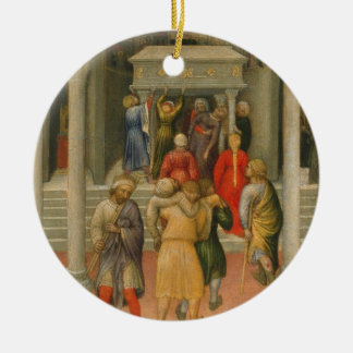 Crippled and Sick Cured at Tomb of St. Nicholas Double-Sided Ceramic Round Christmas Ornament