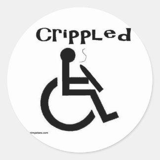 crippled classic round sticker