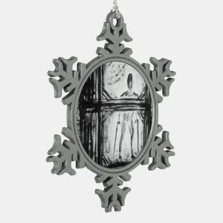 Crippled Man Snowflake Pewter Christmas Ornament