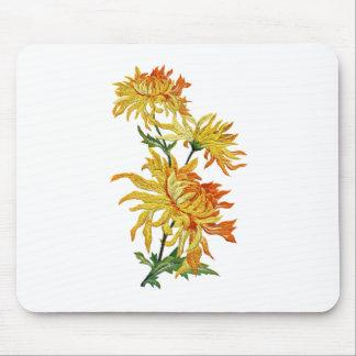 Crisantemo chino de oro bordado alfombrillas de ratón