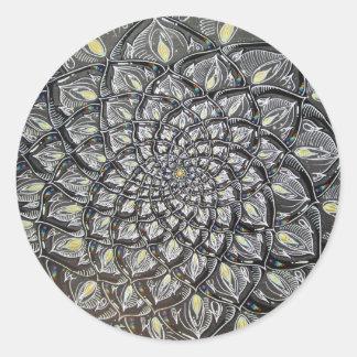 Crisantemo de cristal etiqueta redonda