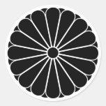 crisantemo Dieciséis-doble-petaled Pegatina Redonda
