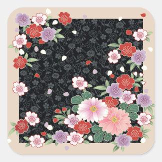 Crisantemo y bella arte del japonés de Sakura Pegatina Cuadrada