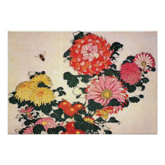 Crisantemo y tábano, Katsushika Hokusai Poster