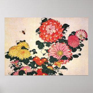 Crisantemo y tábano Katsushika Hokusai Poster