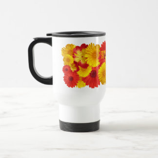 Crisantemos amarillos de las margaritas rojas taza térmica