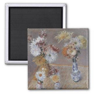 Crisantemos de Gustave Caillebotte Imán Cuadrado