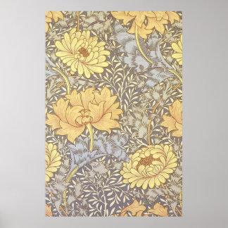 Crisantemos del papel pintado floral del vintage poster