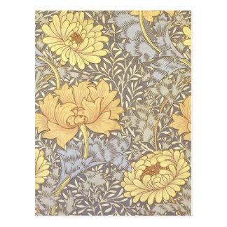 Crisantemos del papel pintado floral del vintage postal