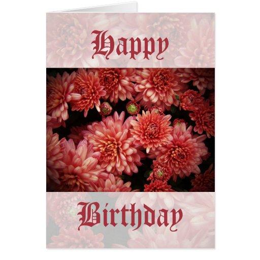 Crisantemos del rojo rico tarjeta de felicitación