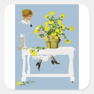 Crisantemos Fadeaway de Coles Phillips Pegatina Cuadrada