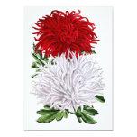 Crisantemos japoneses - salador del granate y de invitación 12,7 x 17,8 cm