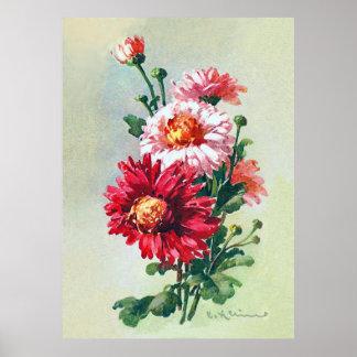 Crisantemos rosados por el poster de Catherine Póster