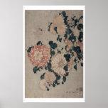 Crisantemos (woodblock del color) póster