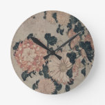 Crisantemos (woodblock del color) reloj redondo mediano