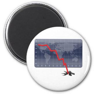 Crisis económica global imán redondo 5 cm