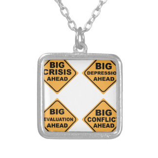 Crisis Signs Square Pendant Necklace