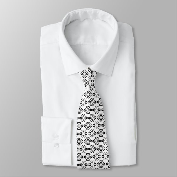 Crisp and classy black and white damask tie