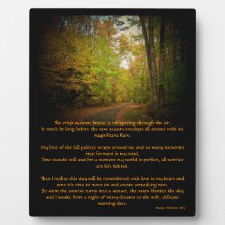 Crisp Autumn Breeze Scenic Poem Easel Photo Plaque