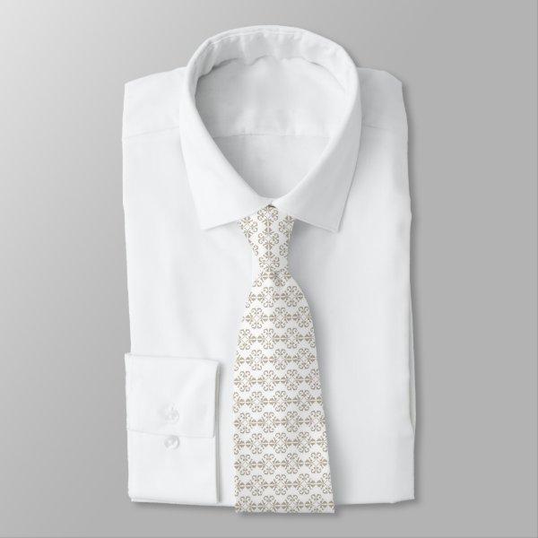 Crisp beige and white damask tie
