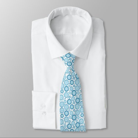 Crisp Blue and White Abstract Tie