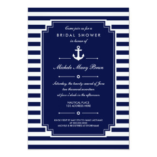 Crisp Blue White Nautical Bridal Shower Invitation