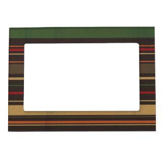 crisp fall air  leaf paper05 STRIPES RICH ORANGES Magnetic Photo Frames