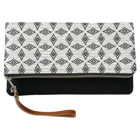 Crisp modern diamond shape design green pink gems clutch